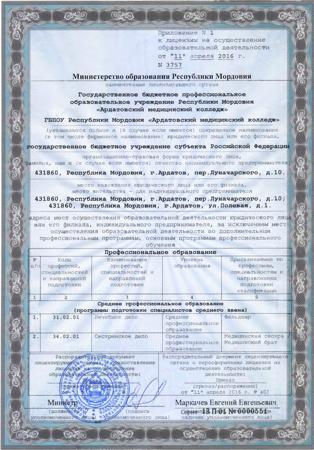 Приложение №1 к лицензии 2016